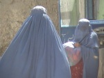 Burqa Clad women outside Sunbol's Home
